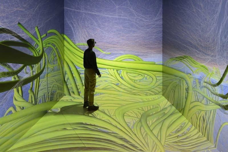 Person standing in virtual reality visionarium